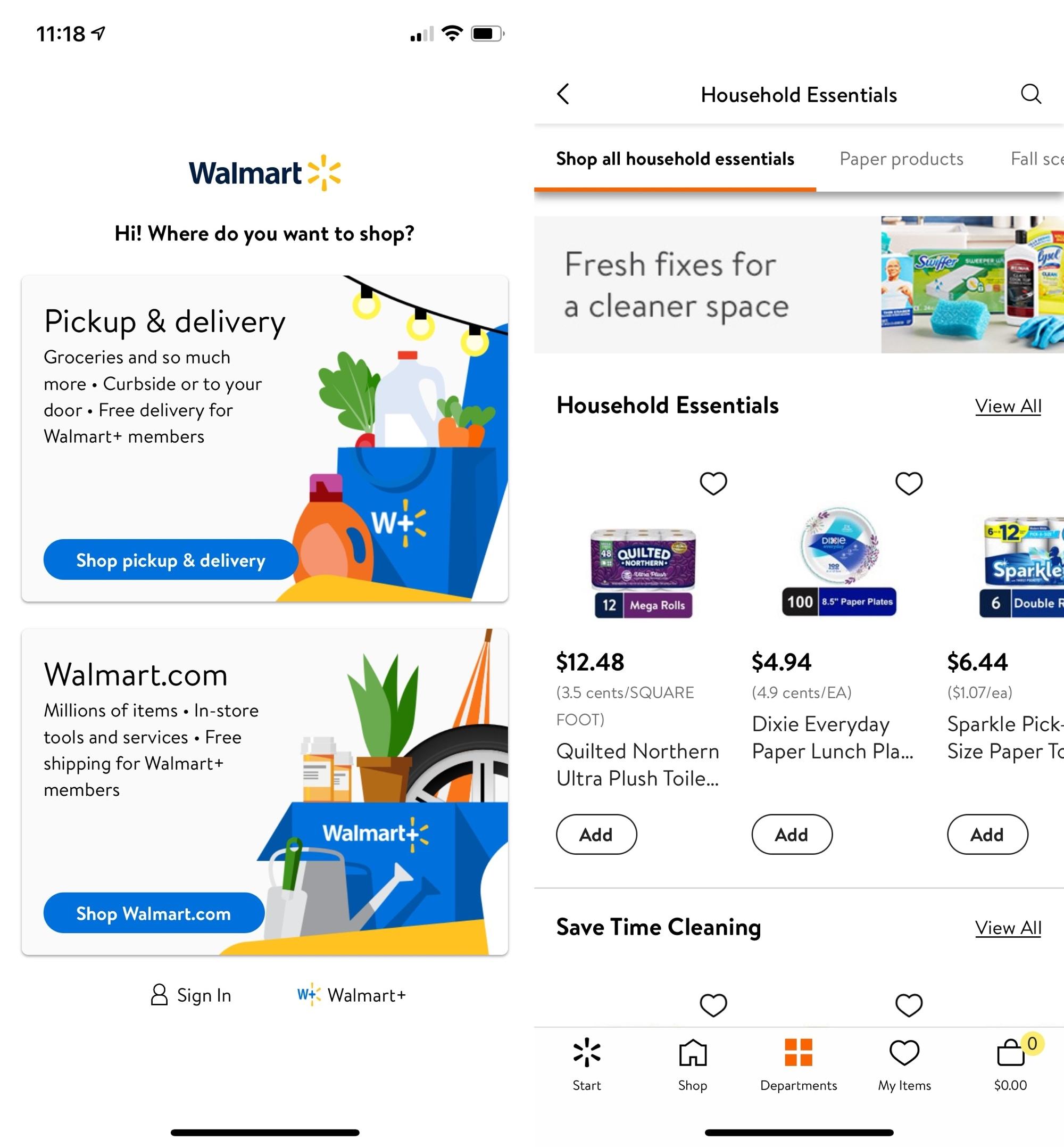 Walmart Household Supplies on iPhone