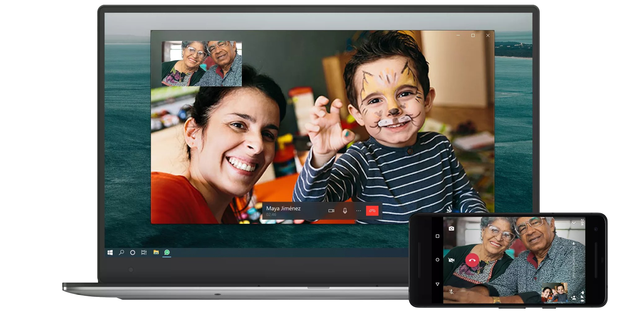 A promotional image demonstrating voice and video calls on WhatsApp Desktop