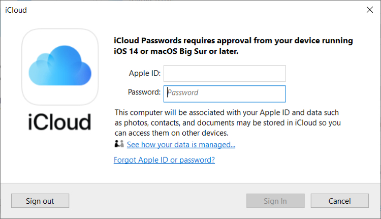 iCloud Windows Sign In