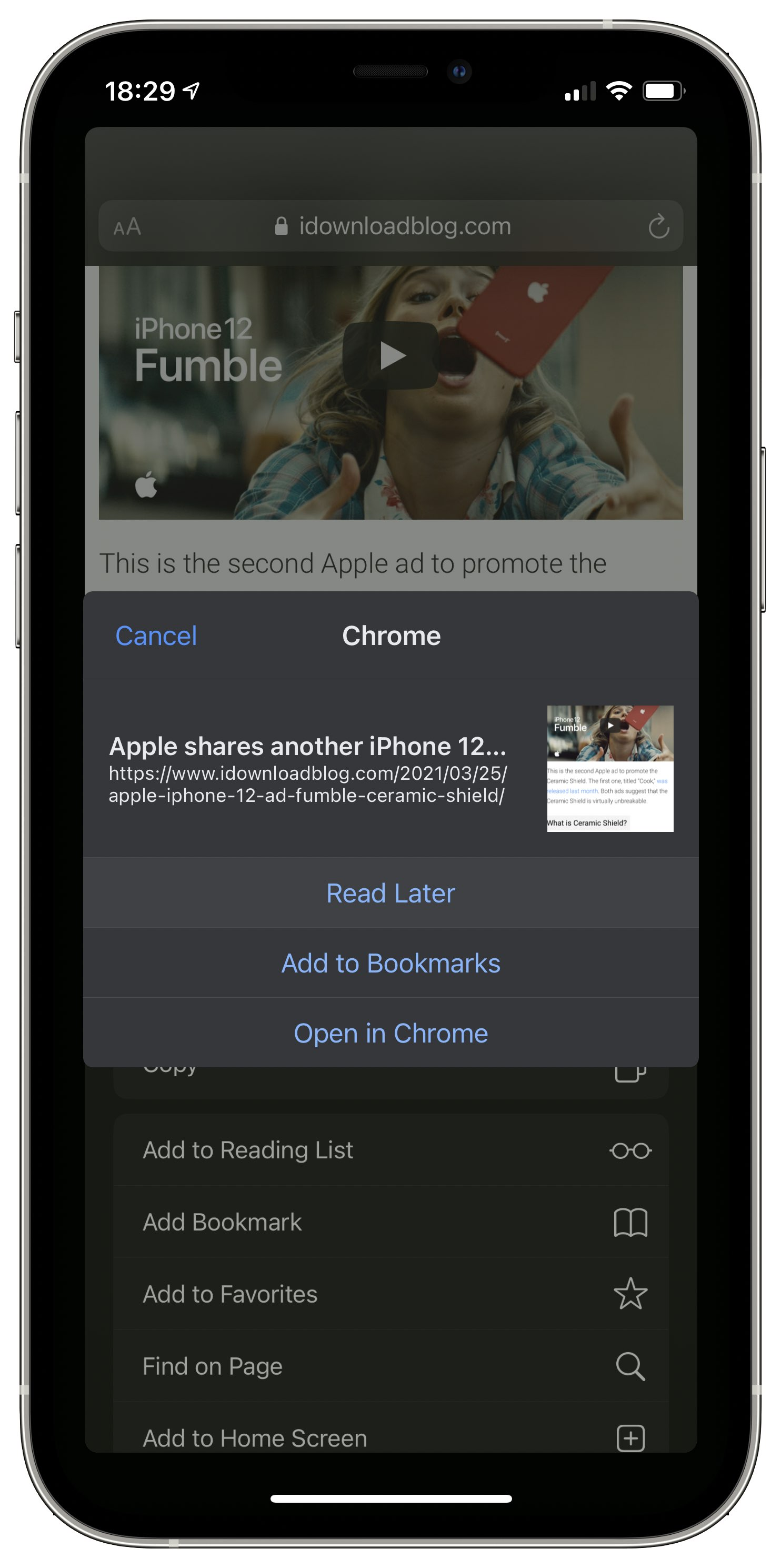 An iOS 14 screenshot illustrating sharing a Safari webpage with the Google Chrome browser with the Add to Reading List option on the iPhone