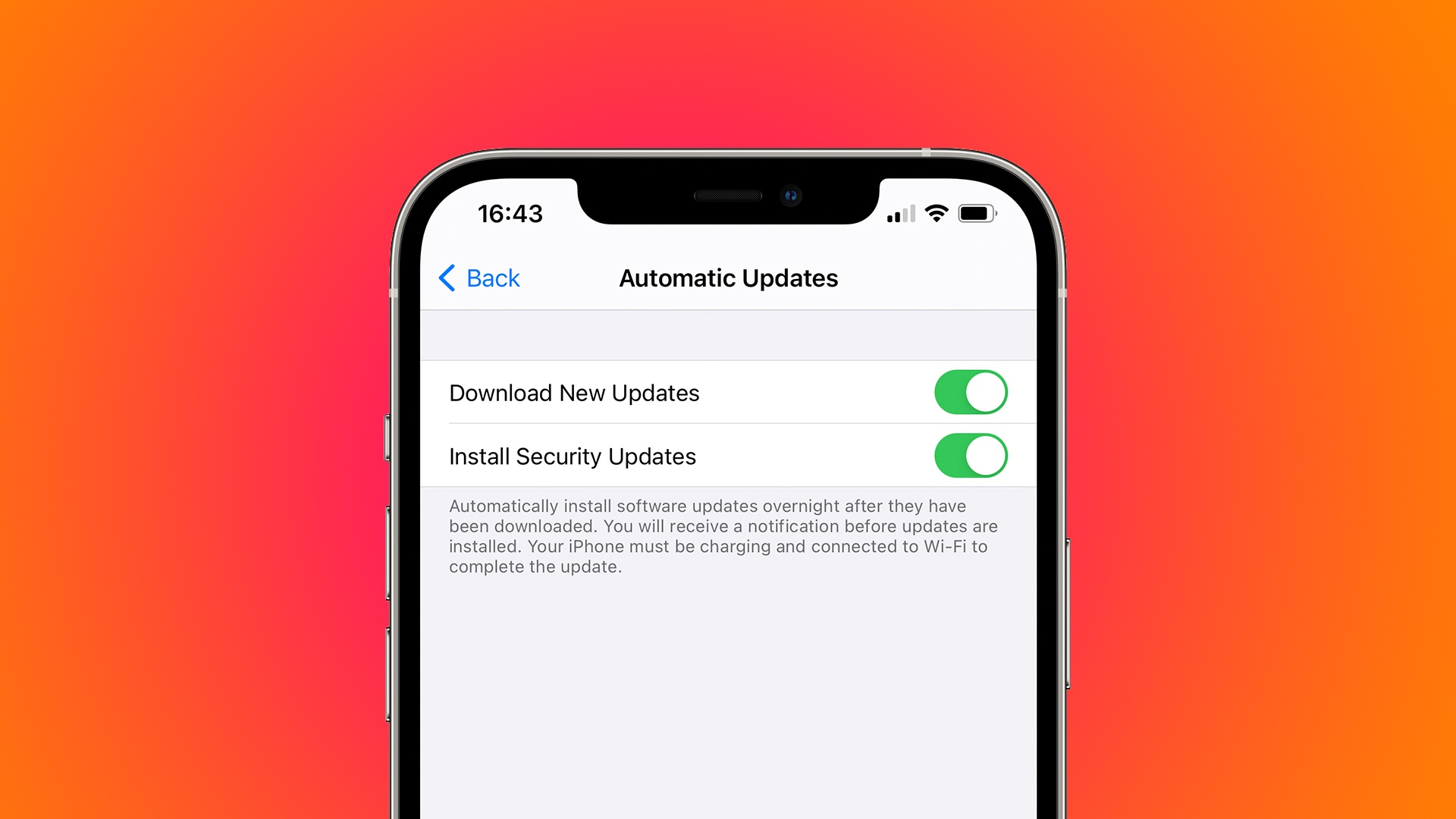"""A screenshot showing the """"Download New Updates"""" and """"Install Security Updates"""" toggles within the Automatic Updates settings on iPhone"""