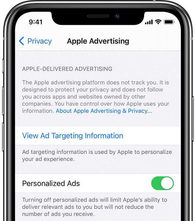 An iPhone screenshot showing the Apple Advertising screen in Settings → Privacy