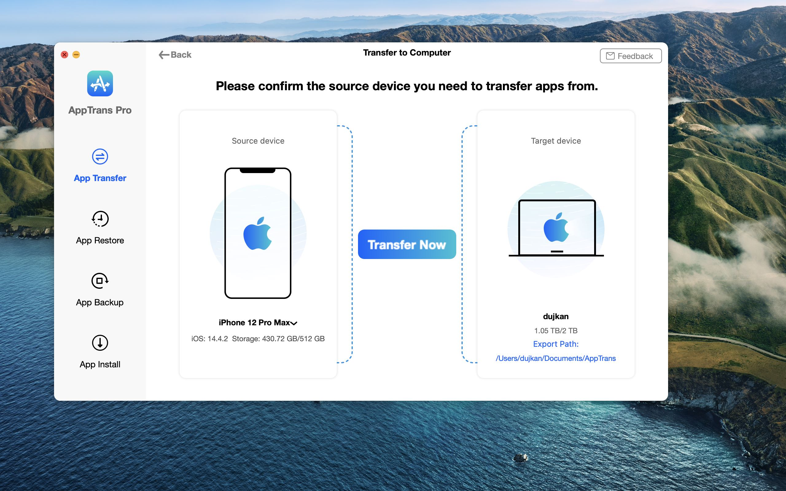 A screenshot showing the app transfer feature in the AppTrans app for macOS from iMobie