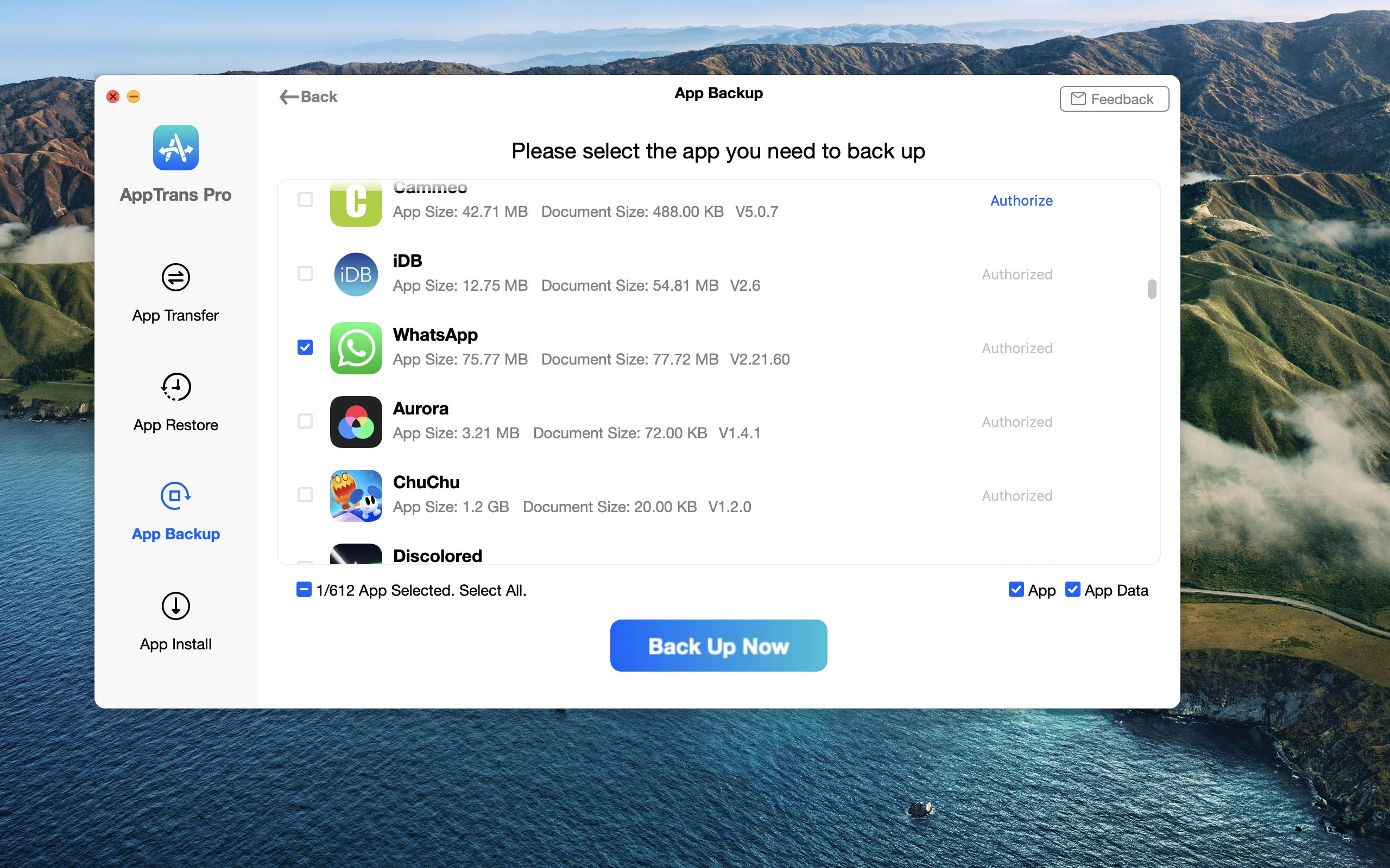 A screenshot showing the App Backup function in the AppTrans app for macOS from iMobie