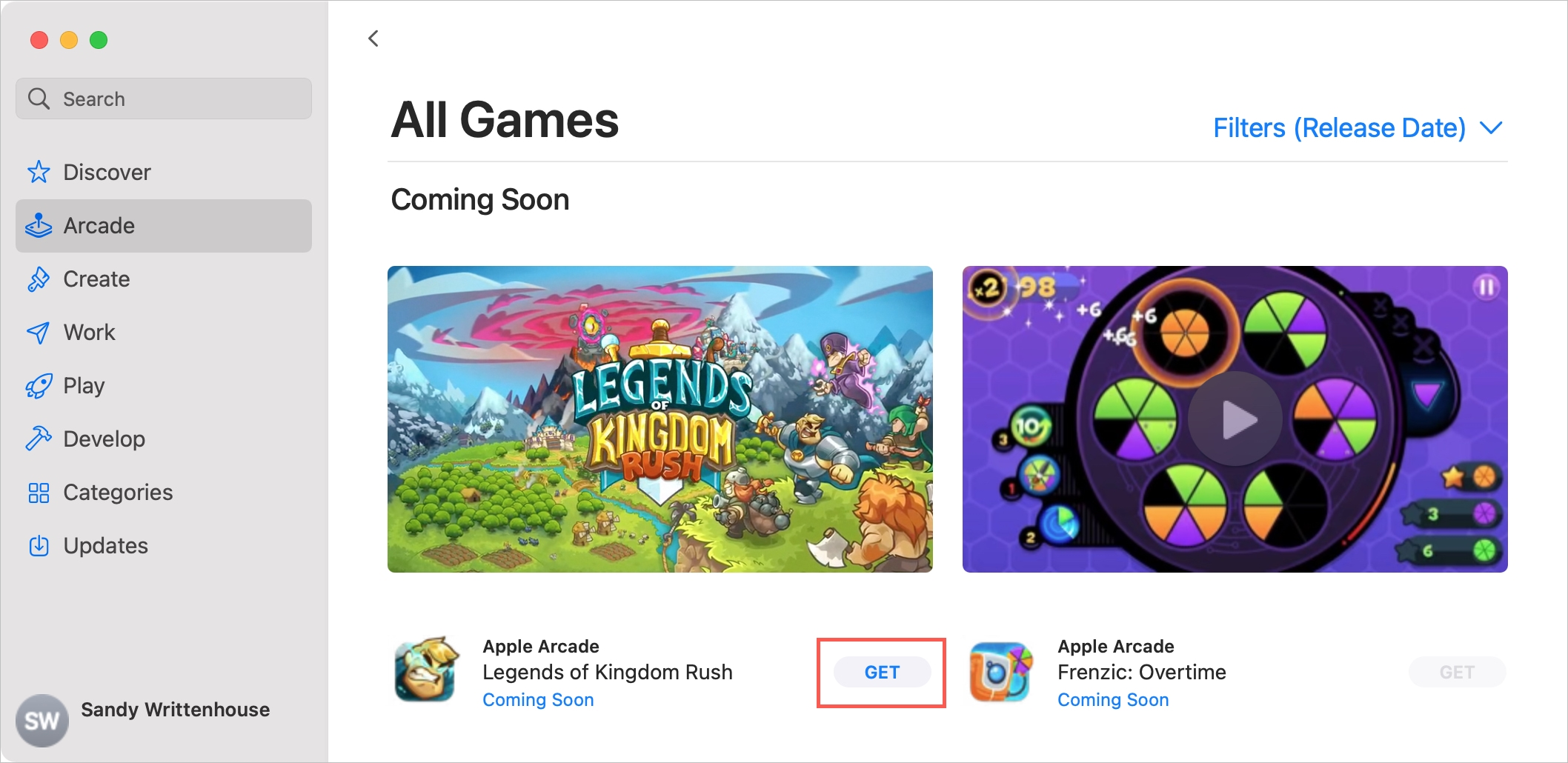 Apple Arcade on Mac Get a New Game