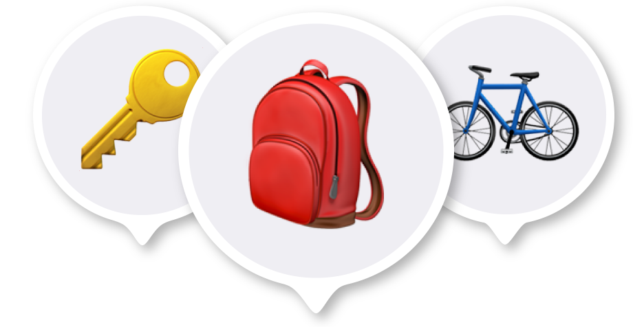 An illustrative image for the Items tab within the Apple Find My showing keys, a bag and a bike