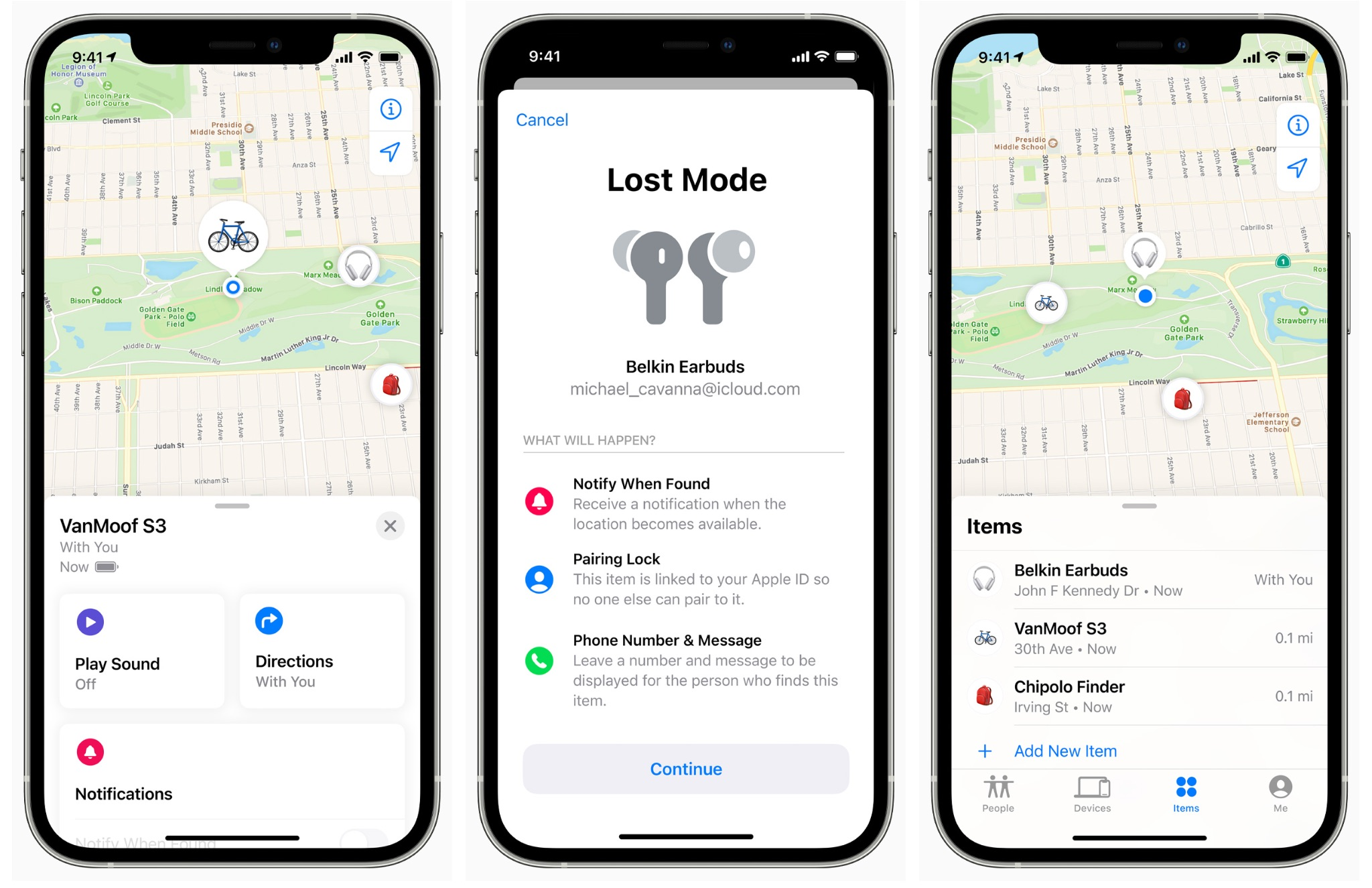 An image featuring three iPhone screenshots showing third-party products in Apple Find My app, from left to right: VanMoof's S3 electric bike, Belkin's SondForm true wireless earbuds and Chipolo's OneSpot personal item tracker
