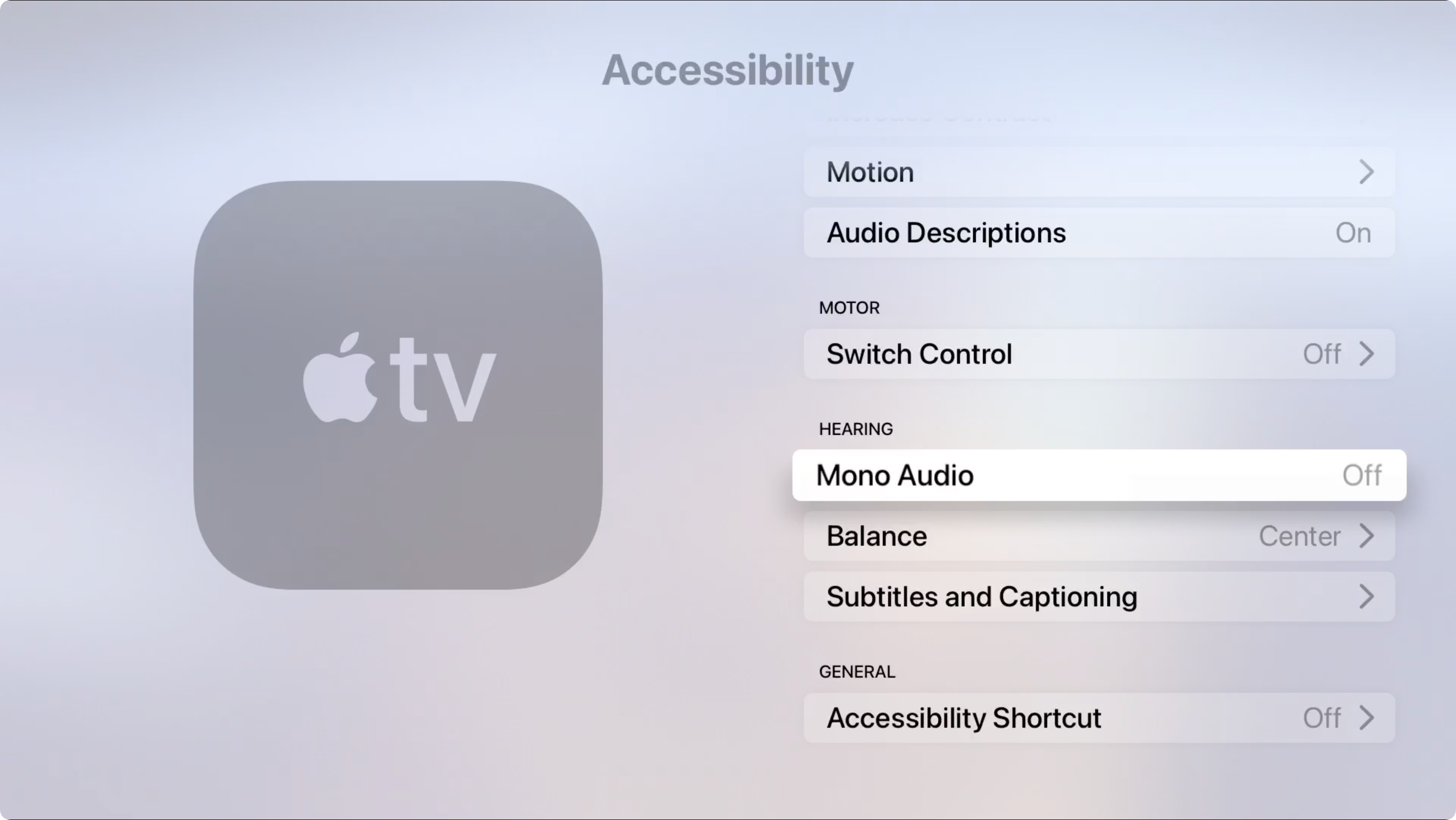 Apple TV Accessibility Hearing