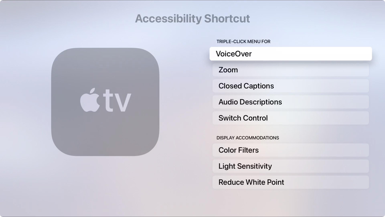 Apple TV Accessibility Shortcut