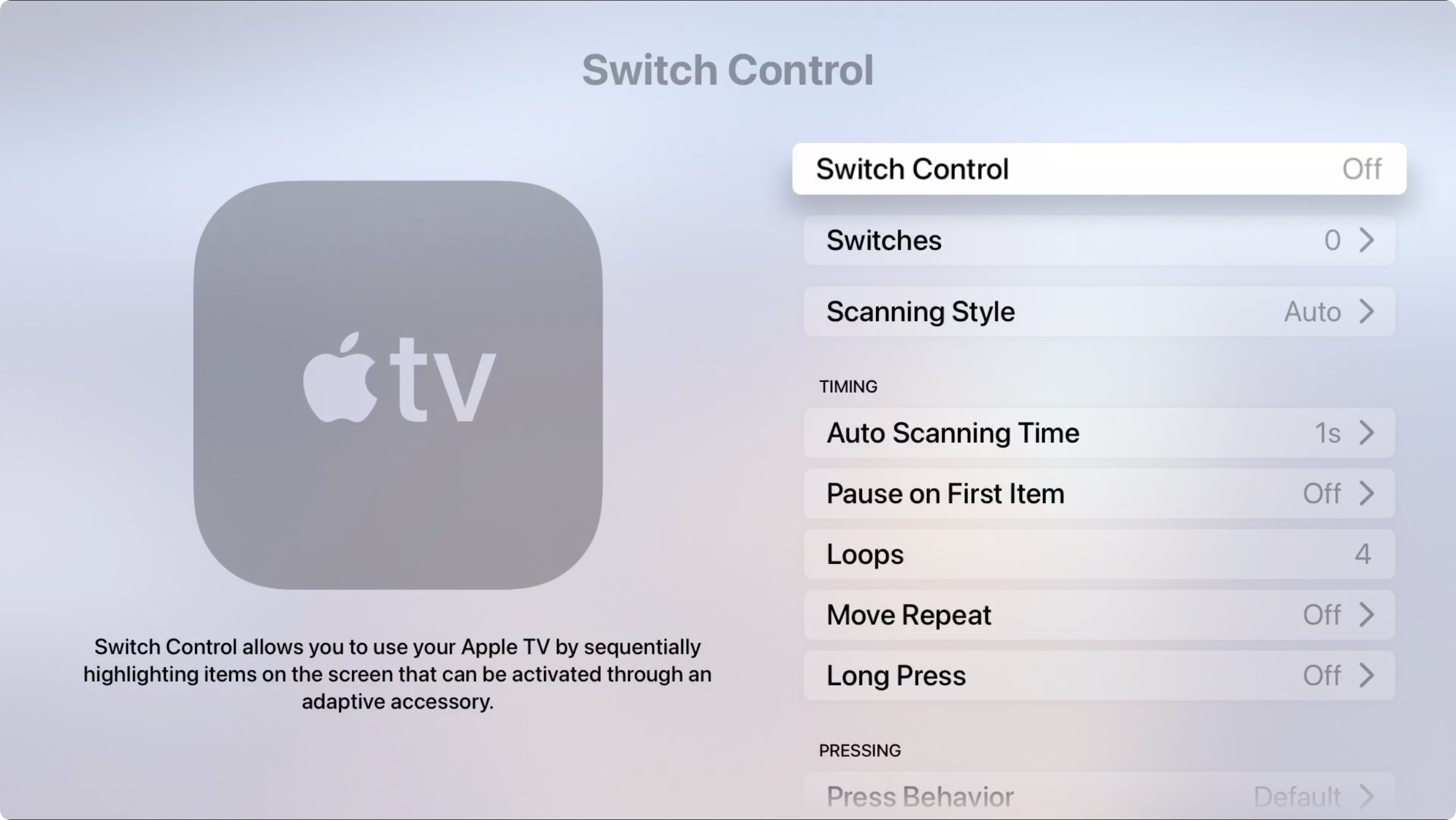 Apple TV Accessibility Switch Control