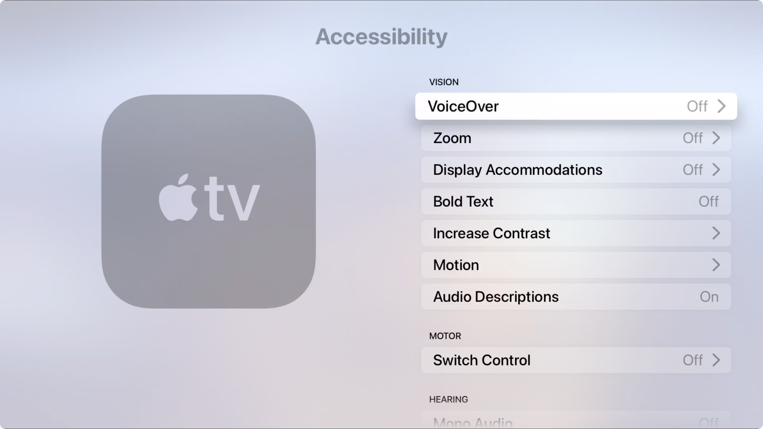 Apple TV Accessibility Vision