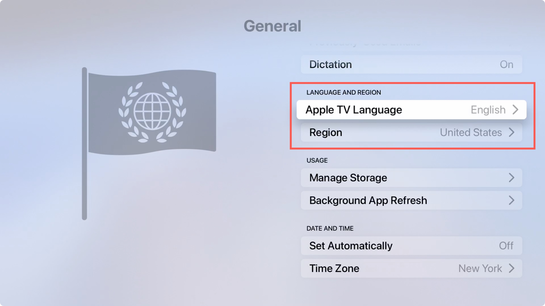 Apple TV General, Language and Region