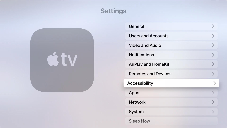 Apple TV Settings Accessibility
