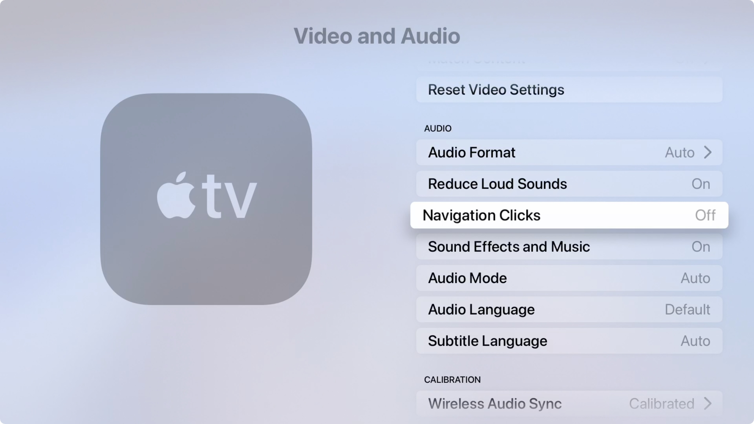 Apple TV, Video and Audio, Navigation Clicks Off