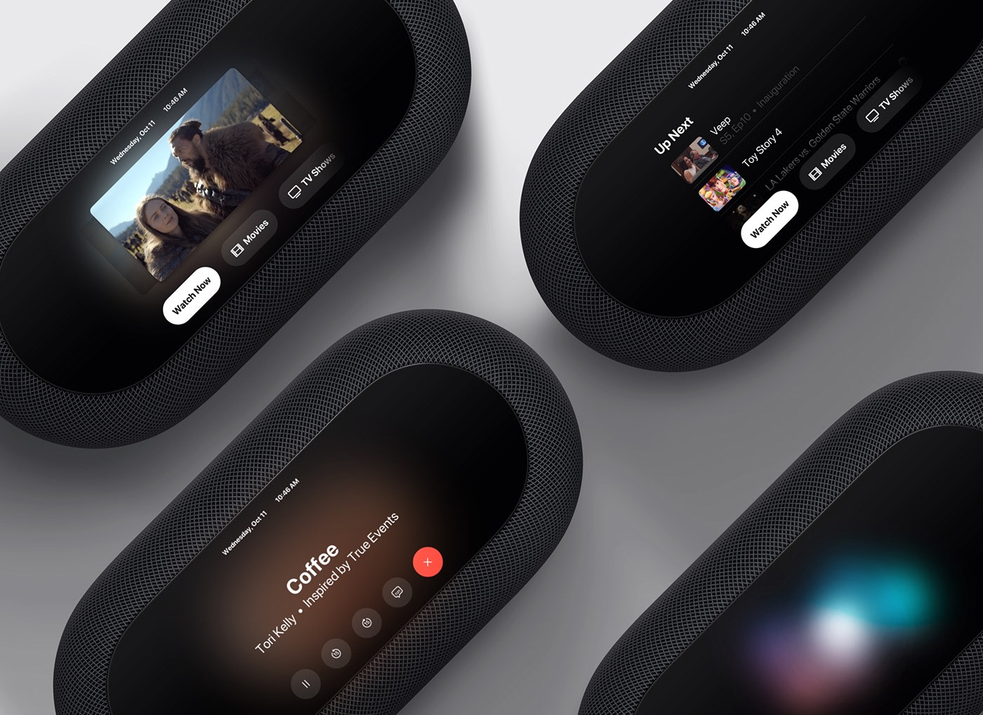 A conceptual rendering depicting an Apple-branded soundbar providing some of the features of the Apple TV and HomePod, with a built-in display