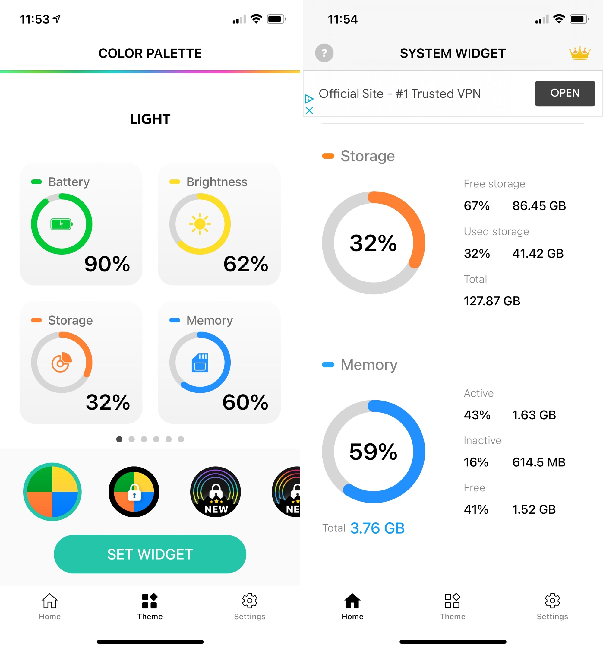 Battery and Color Widgets for iPhone