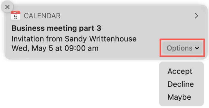 Calendar Alert Reply on Mac
