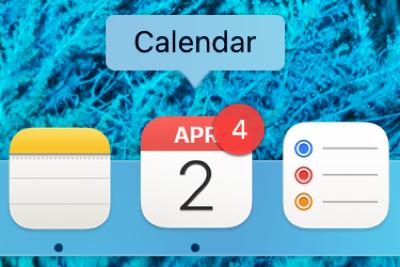 Calendar Badge App Icon in Dock on Mac