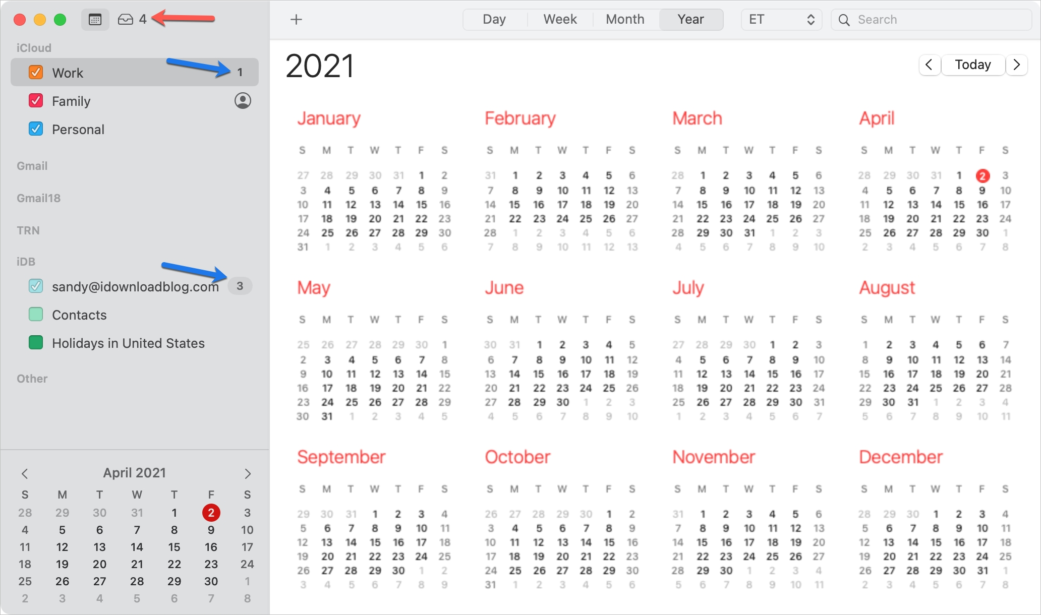 Calendar Event Notification Counts on Mac