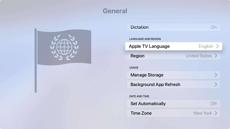 Change Apple TV Language or Region