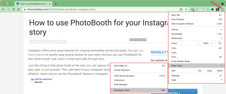 Chrome More Developer Tools on Mac