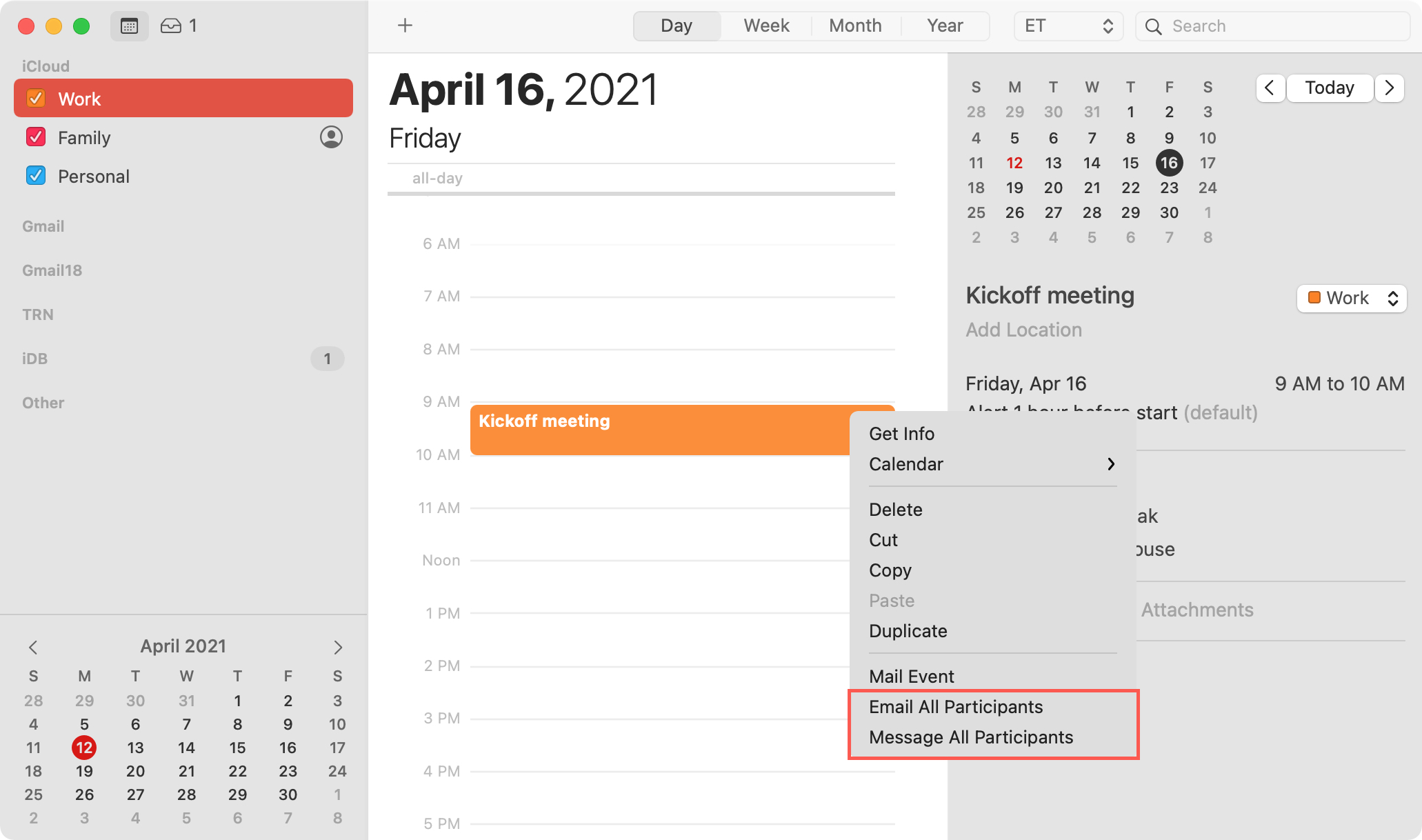 Email or Message All Participants for a Calendar Event on Mac