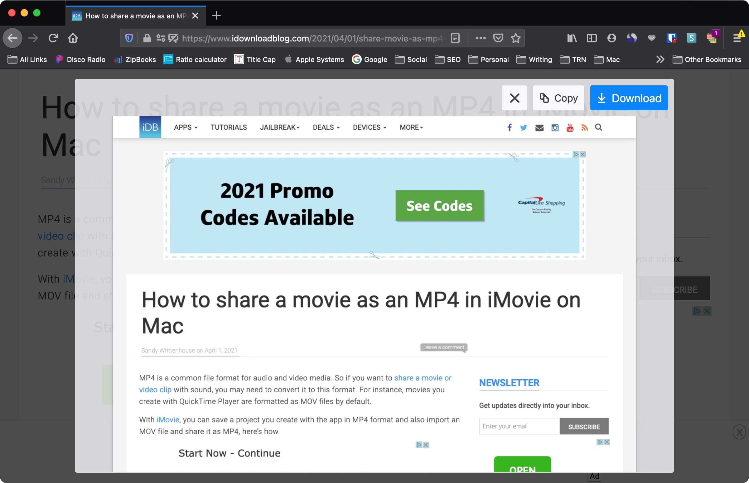 Firefox Copy or Download Page on Mac