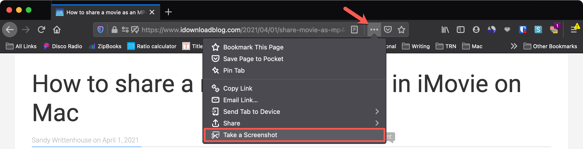 Firefox Page Actions Take a Screenshot on Mac