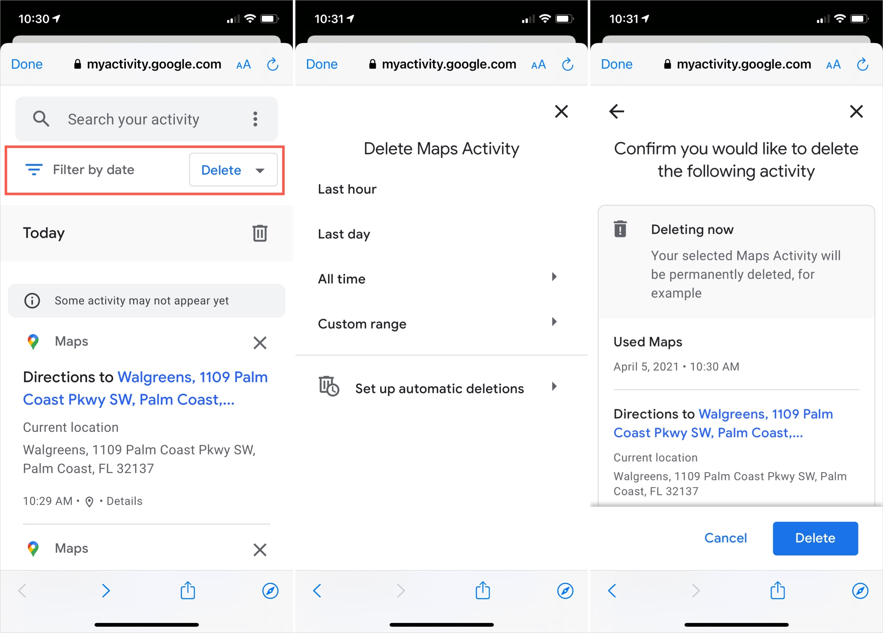 Google Maps Delete History Filter on iPhone