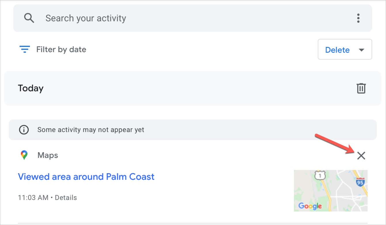 Google Maps Delete History for Locations on the Web