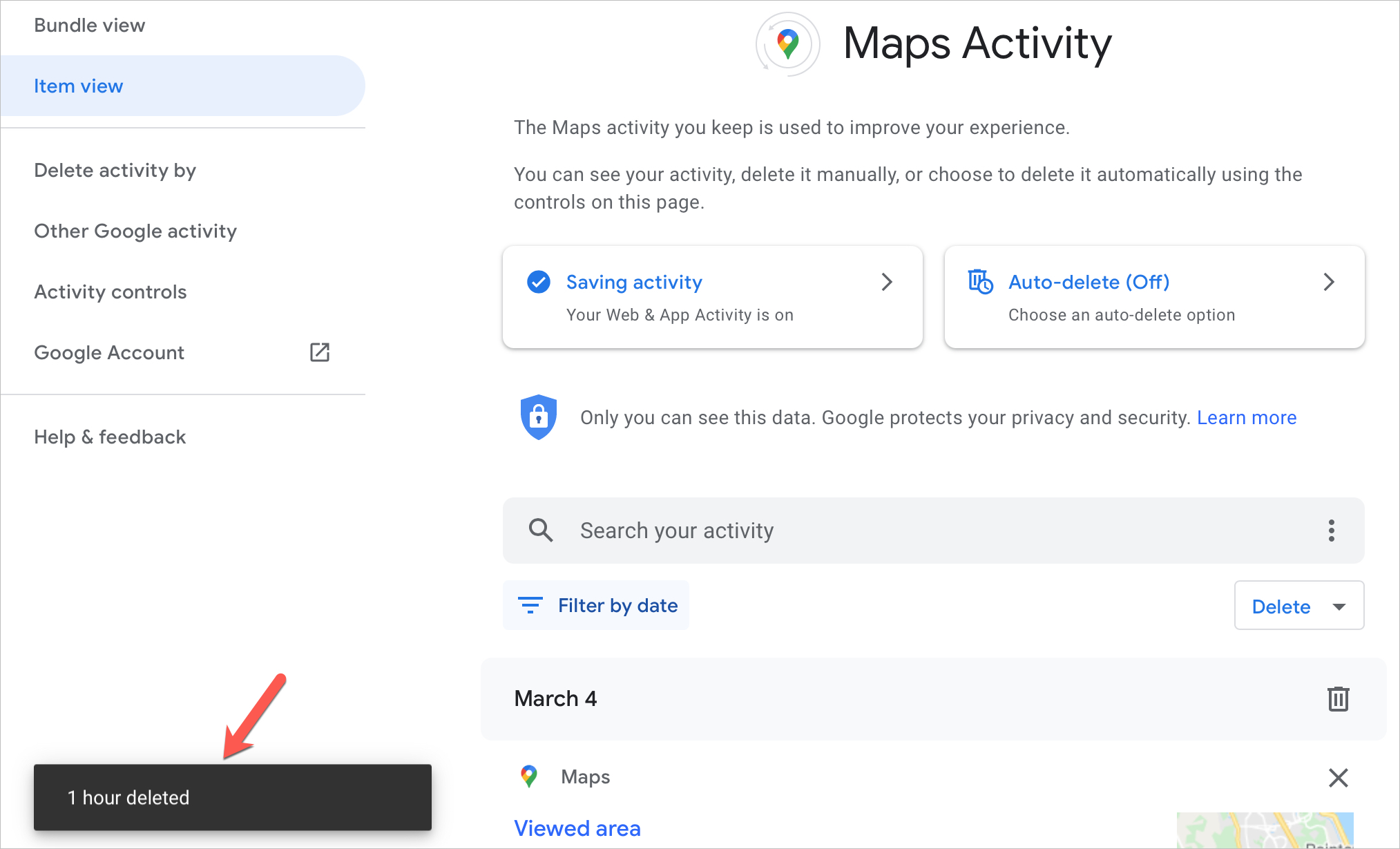 Google Maps Delete History Message on the Web