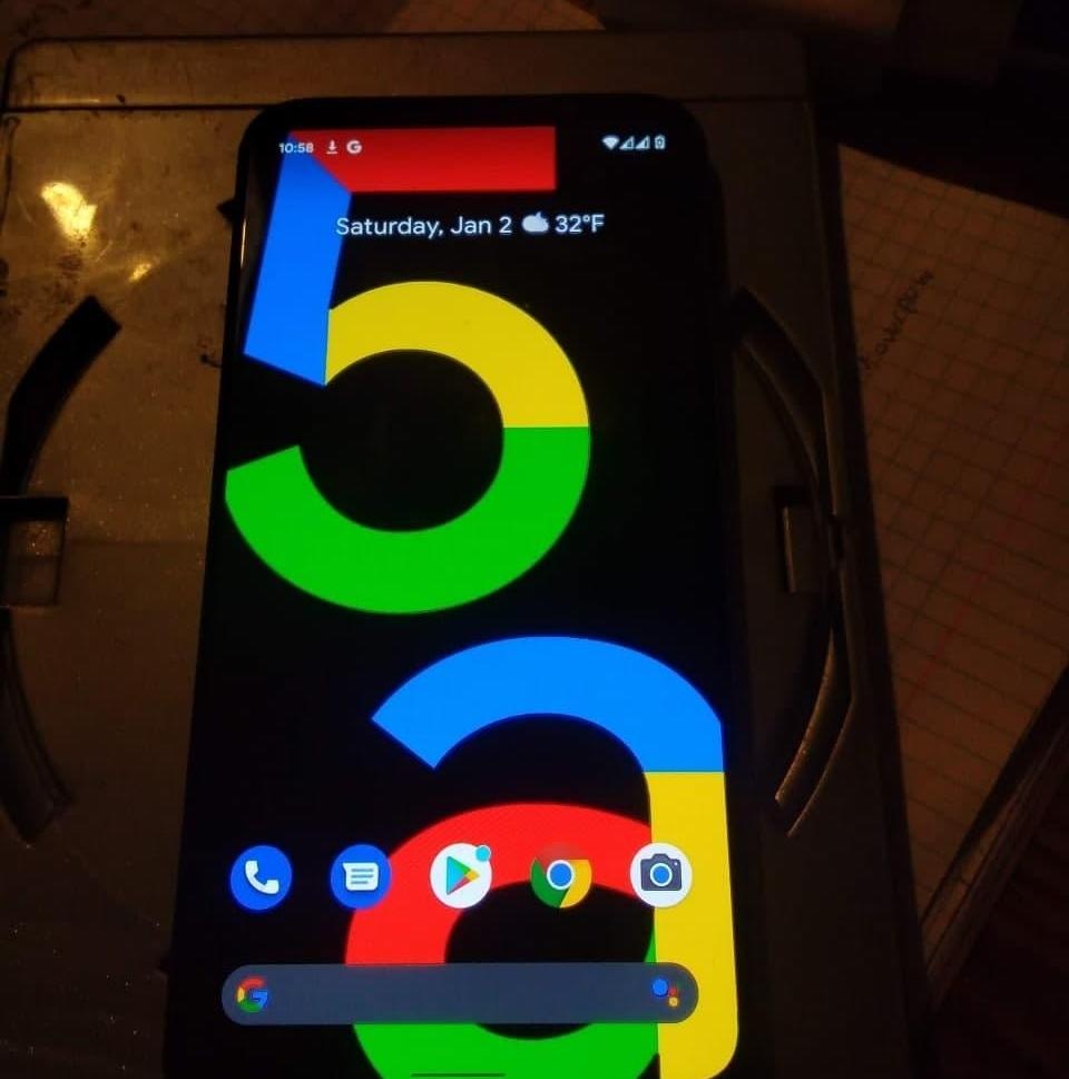 A leaked photograph showing Google's Pixel 5a handset