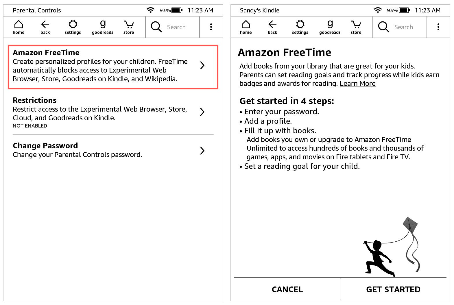 Kindle Paperwhite Amazon FreeTime