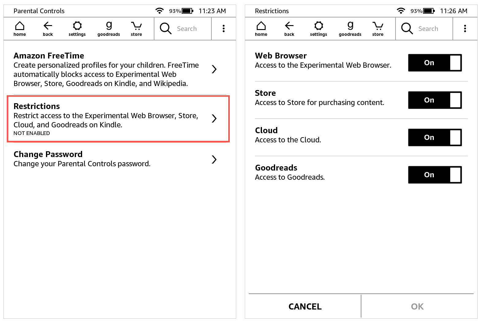Kindle Paperwhite Restrictions