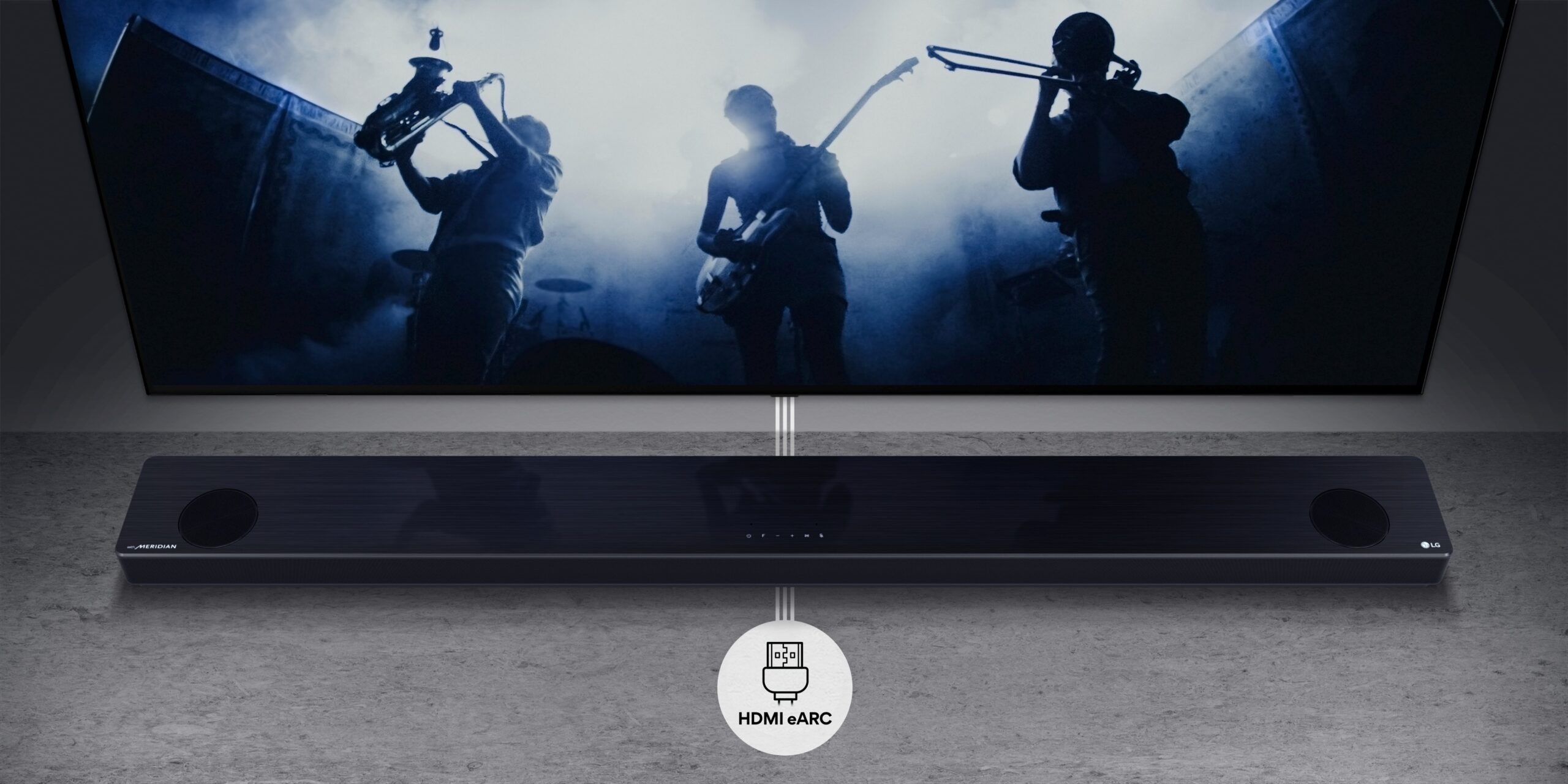 A promotional image showing LG's 2021 soundbar with AirPlay 2 support