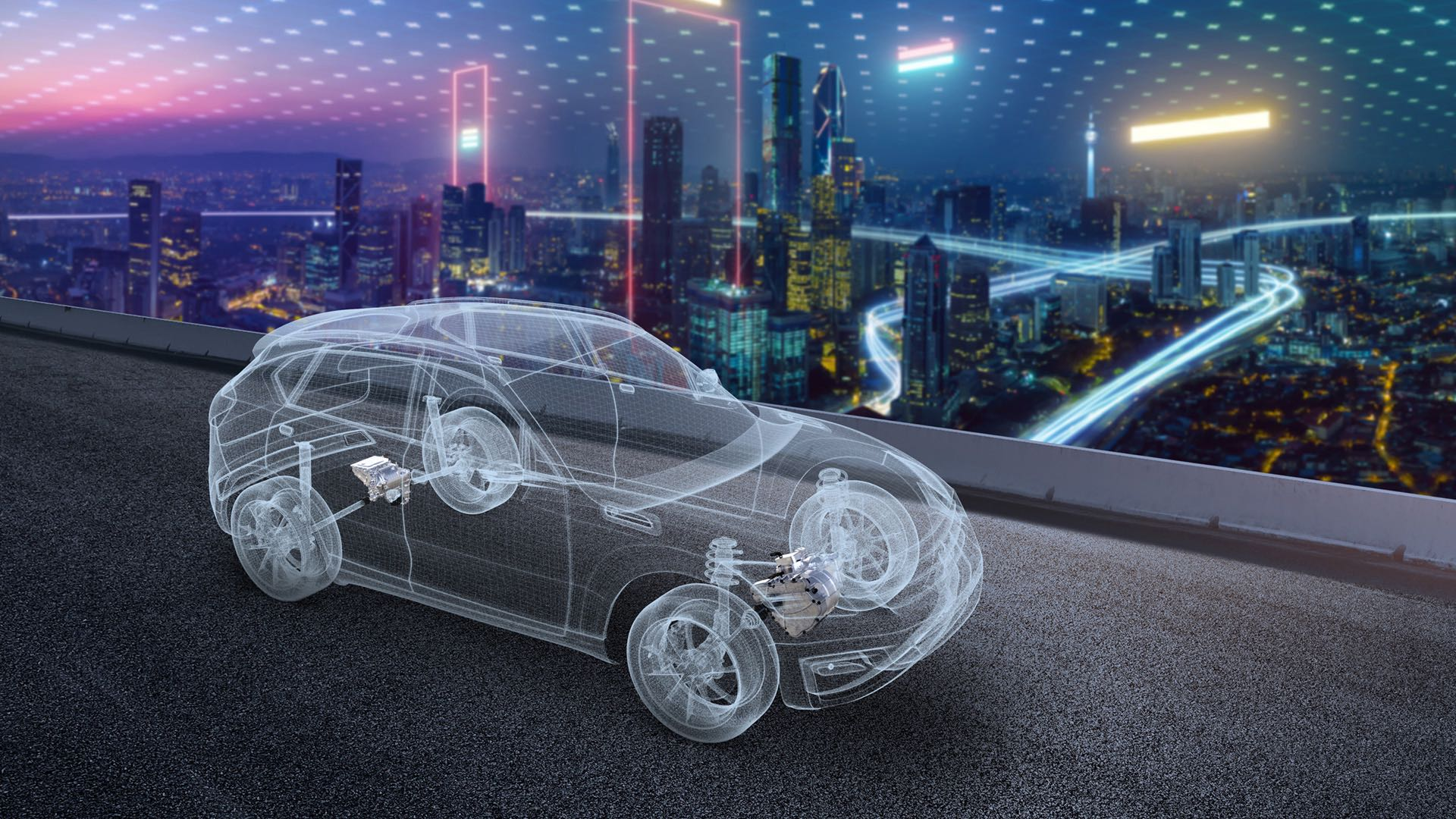 An illustration for the Powertrain vehicle electrification joint venture between LG Electronics and Magna International