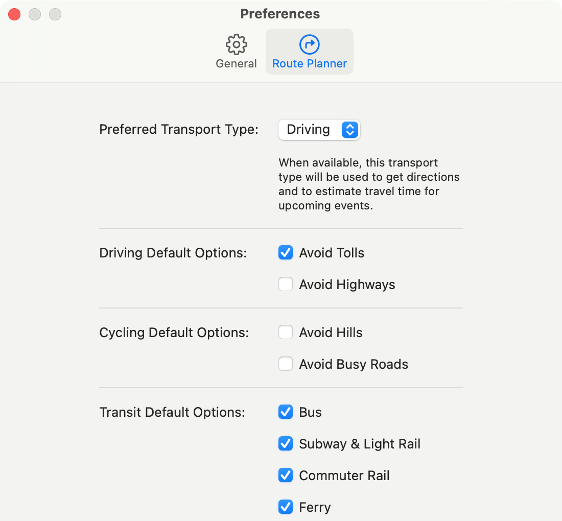 Maps Preferences Route Planner on Mac
