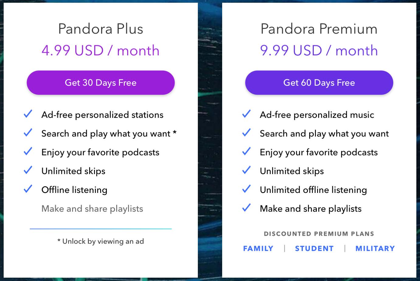 Pandora Subscription Plans on the Web