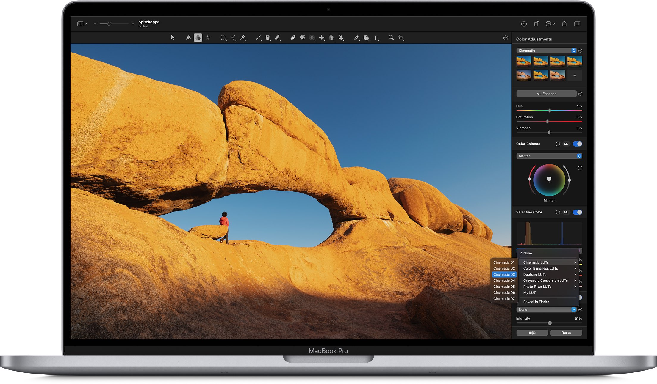 A Mac screenshot displaying LUT color adjustments in the Pixelmator Pro image editor