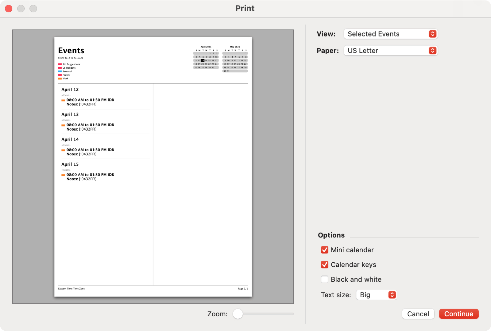 Print Selected Events in Calendar on Mac