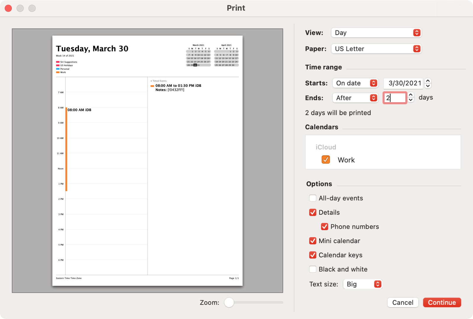 Print Specific Day Events in Calendar on Mac