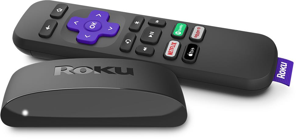A photograph showing Roku's Voice Remote Pro remote control and Express 4K media player