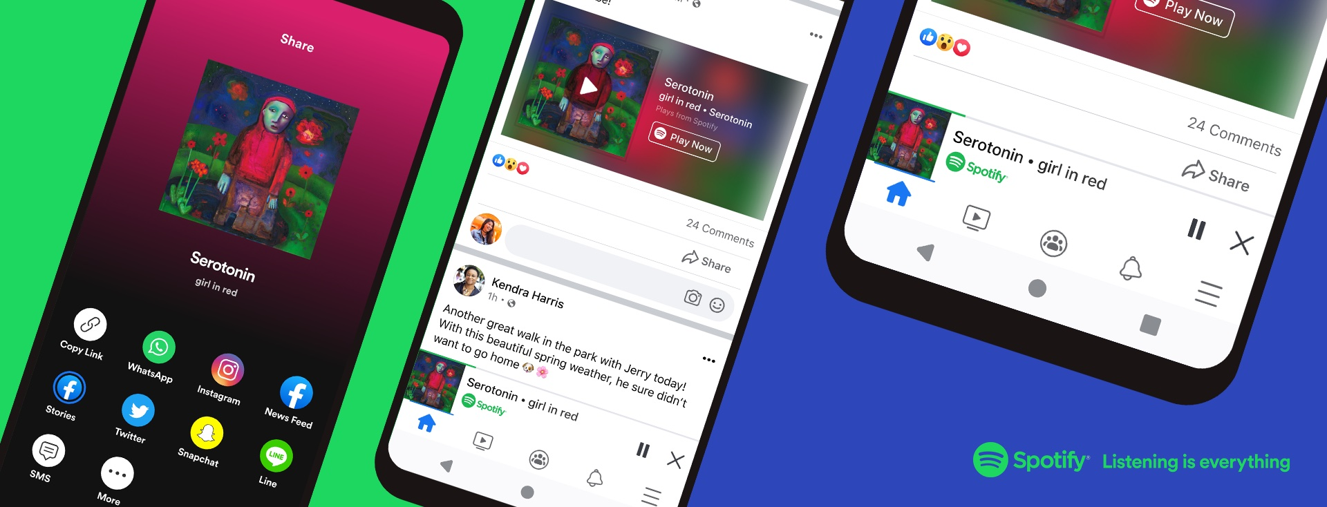 Promotional graphics from Spotify showcasing the new mini-player in Facebook's mobile app