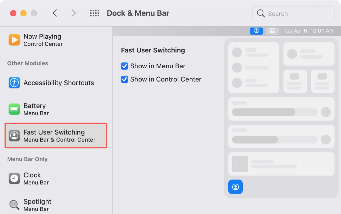 Dock and Menu Bar Fast User Switching