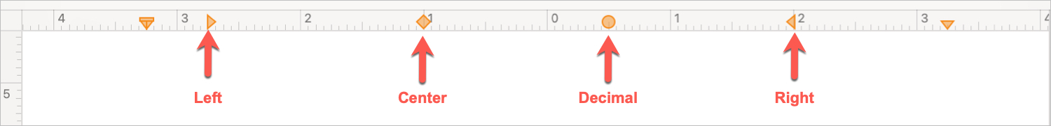 Tab Stops Using the Pages Ruler on Mac