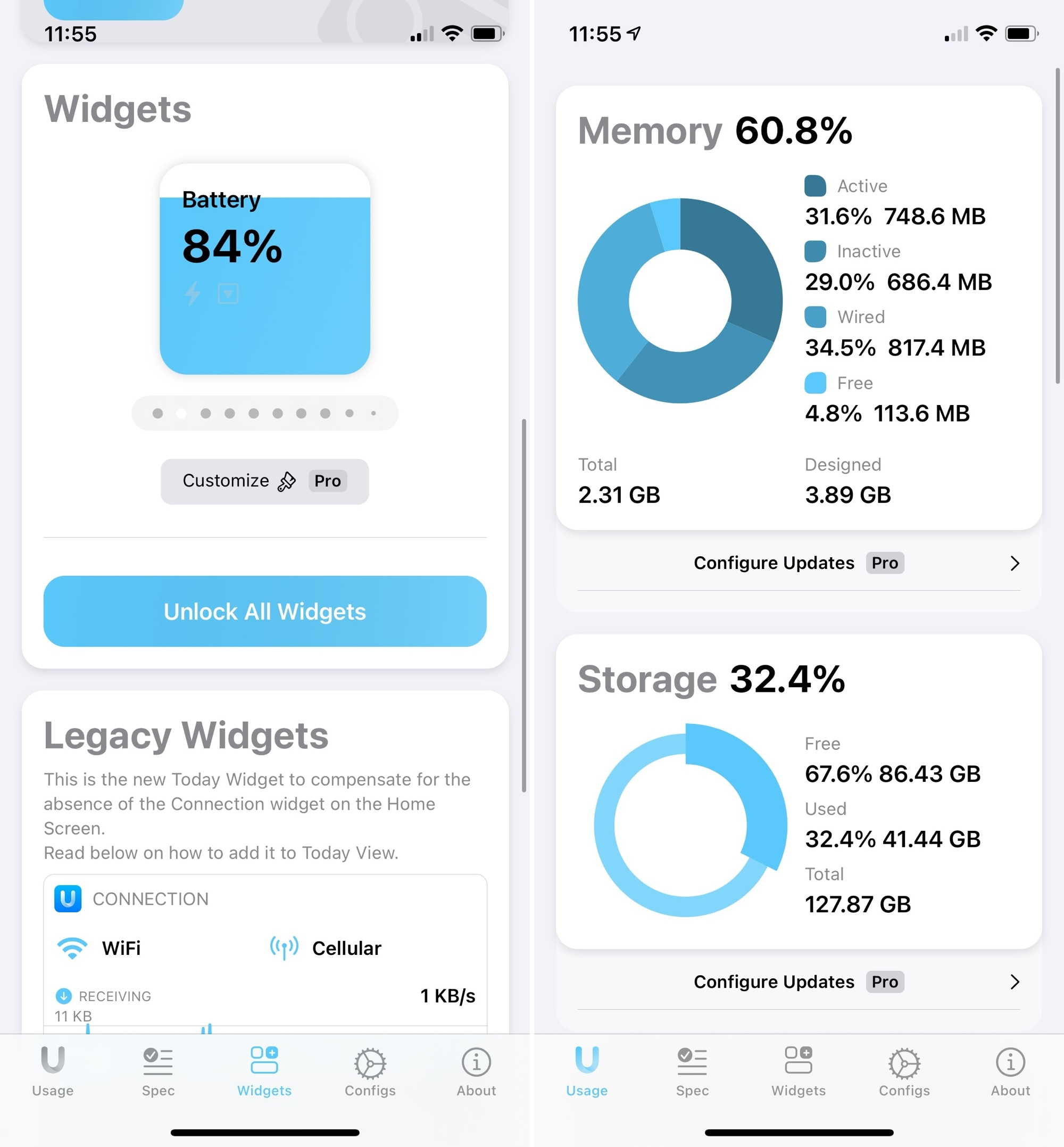 Usage Widgets for iPhone