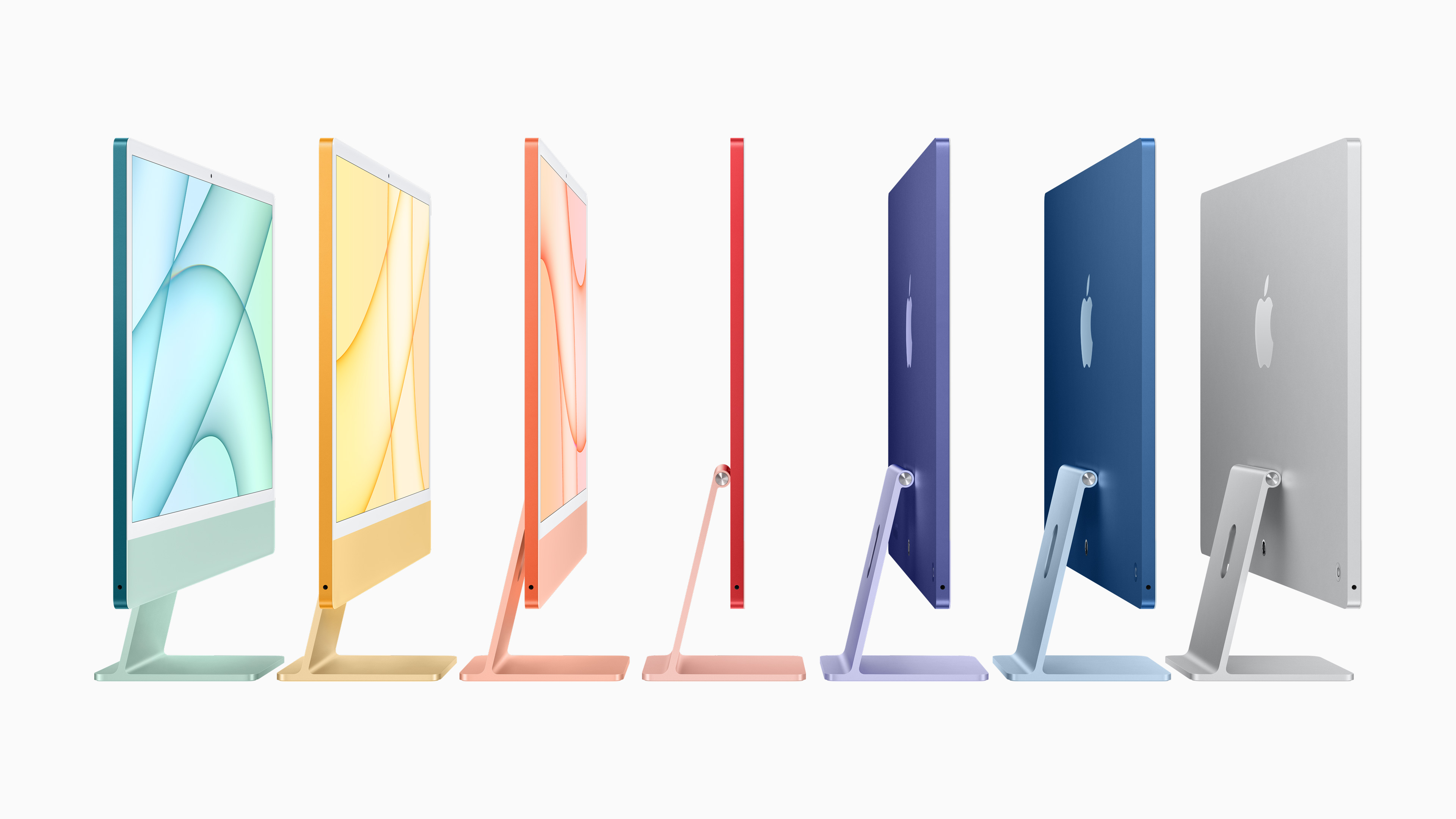 24-inch Apple silicon iMac lineup in all colors, shown from the side