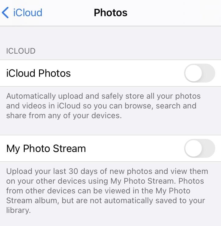 disable iCloud photos