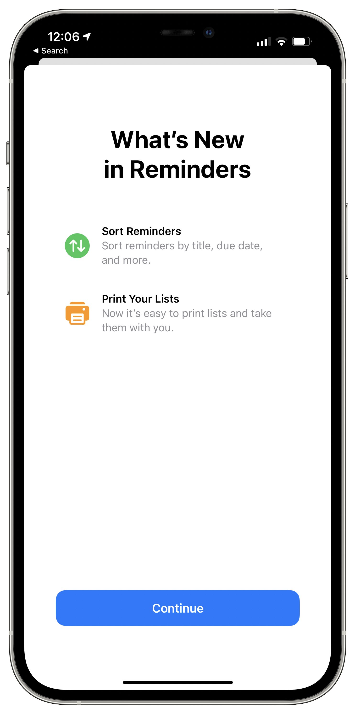 An iPhone screenshot of the Apple Reminders app on iOS 14.5 displaying the splash screen with new sorting options