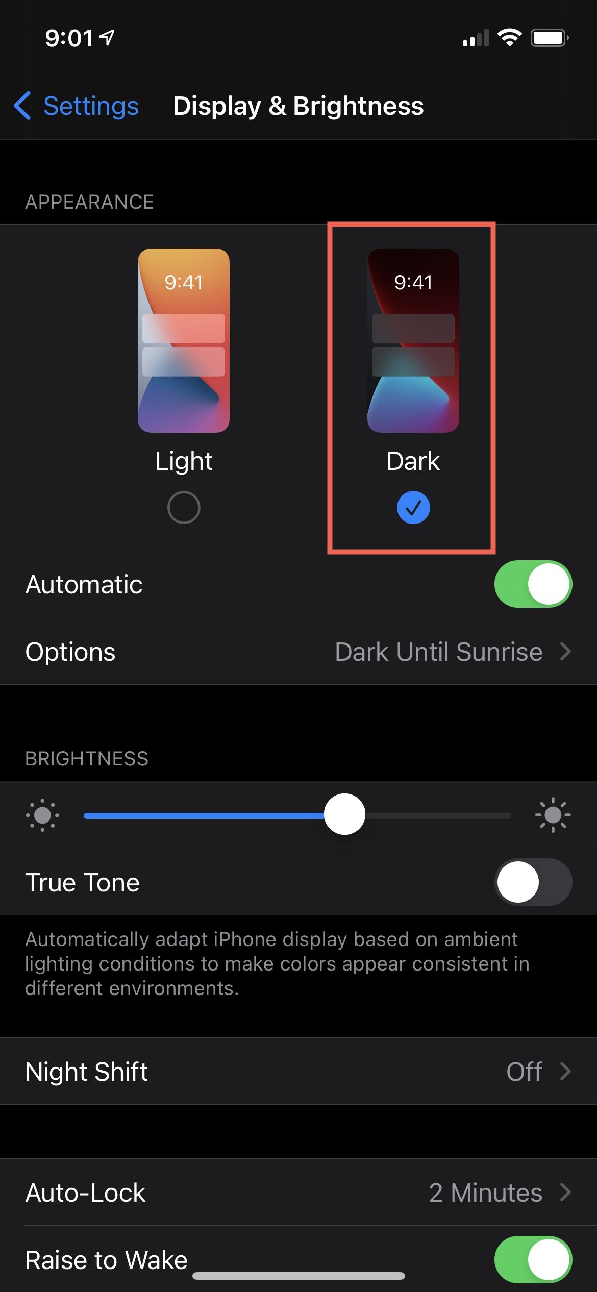 iPhone 12 Display and Brightness Dark
